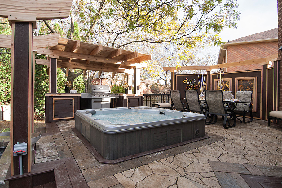 Stone Deck - Hot Tub Deck Ideas - Paul Lafrance